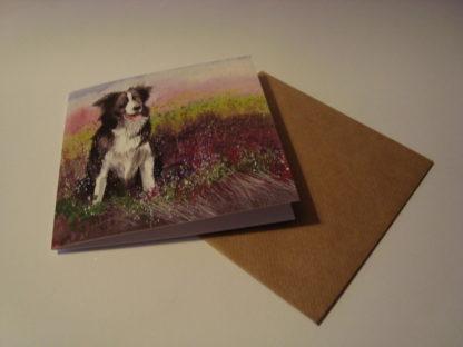 Wenskaart collie and heather Alex Clark 14x14 enveloppe
