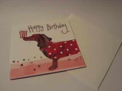 Wenskaart dachshund and present Alex Clark 16x16 enveloppe