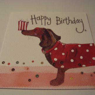 Wenskaart dachshund and present Alex Clark 16x16