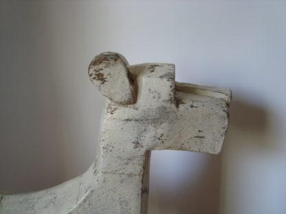 ByMooss houten hond wit kop woondecoratie