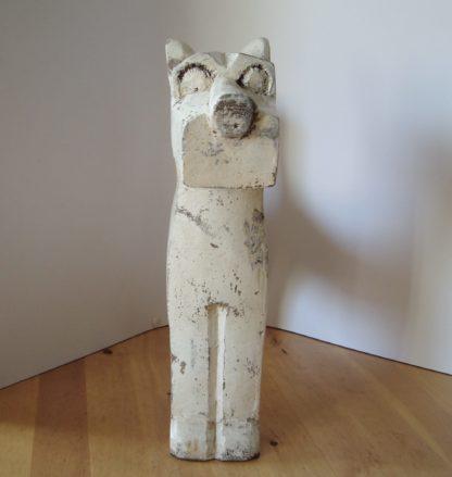 ByMooss houten hond wit voor woondecoratie