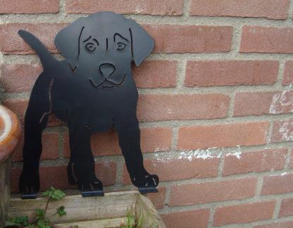 metalen silhouet puppy buiten decoratie muur