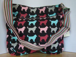 canvas schoudertas zwart hondenprint