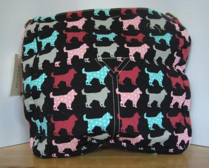 canvas schoudertas zwart hondenprint achterkant