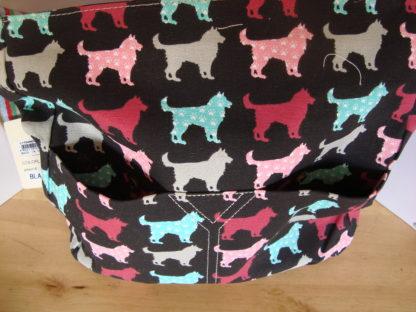 canvas schoudertas zwart hondenprint achtervakken