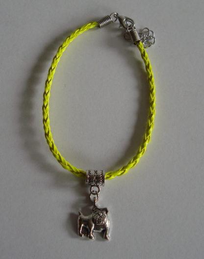 armbandje met bedeltje diverse kleuren geel bulldog grootte