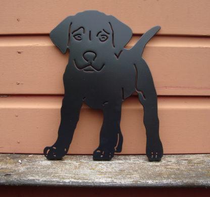 puppy tuindecoratie woonaccessoire silhouet metaal buiten
