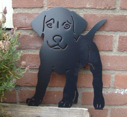 puppy tuindecoratie woonaccessoire silhouet metaal muur