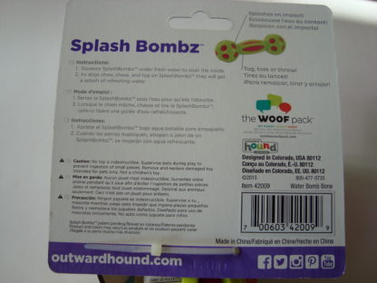 Outward hound splash bombz bone label achter