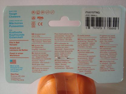 Zogoflex Jive bal speelgoed hond label achter